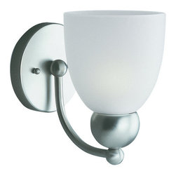 """Sea Gull Lighting - Sea Gull Lighting 41035 Reversible Wall Sconce from the Metropolis Collection - Soft curves on a sleek, hip attitude pair nicelyRich copper revival finish and accented with frosted white glass make a dramatic turn and a perfect touch to any d�corMay be Mounted up or downExtends: 7-1/2"""", height from center of outlet box: 4-3/4""""1 100w Medium Base Required (Not Included)"""