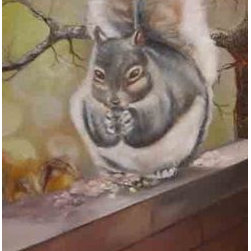 My Provider (Original) by Sherri Richards - This is a squirrel that steals all of our birdseed.  I exaggerated his size because he is do greedy.  I used a palette knife to add texture to the seeds and the tree.  I can't stay angry with him because he's so cute.