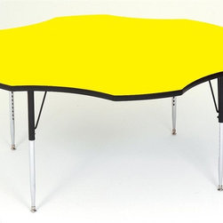 Correll Inc - Flower Shape High Pressure Activity Table (Sh - Finish: Short/Dove GreyDesigned for heaviest school and church use. 1.25 in. thick high density particle board top. Real high pressure top laminate. Resists scratches, paint, markers, crayons, and food and juice stains far better than melamine. Backer sheet to resist warping. Leg mounting brackets pre-attached with 7 screws. Three additional screws in leg plate. Oversize hairpin brace make this the strongest leg mounting system in the industry. Shoulder on leg set screw provides an extra margin of safety. Free speed wrench with every table, for fast, easy, height adjustments. Standard legs adjust from 21 in. to 30 in. in 1 in. increments. Short legs adjust from 16 in. to 25 in. in 1 in. increments. Pictured in Yellow. 60 in.