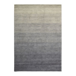 """Nourison - Haze Smoke Solid Smoke Shaded 2'3"""" x 7'6"""" Runner Calvin Klein Rug by RugLots - Hand-dyed yarns create a dramatic ombre effect in this group of area rugs. Hand-loomed of wool, the color palette of subtle to intense hues will highlight any room."""