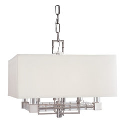 Hudson Valley Lighting - Hudson Valley Lighting Alpine Transitional Pendant Light X-BGA-0217 - Hudson Valley Lighting offers the Alpine Transitional Pendant Light. It houses a four lamp candelabra in a Polished Nickel and features an abstract geometric frame. The shade is rectangular in shape and has an ivory hue that emits vibrant illumination.