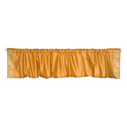 Indian Selections - Pair of Pumpkin Rod Pocket Top It Off Handmade Sari Valance, 80 X 20 In. - Size of each Valance: 80 Inches wide X 20 Inches drop. Sizing Note: The valance has a seam in the middle to allow for the wider length
