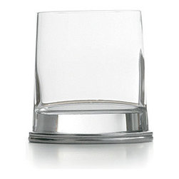 "Arte Italica Milano Double Old Fashioned - set of two - This delightfully unusual glass combines a round glass top that flows into a unique oval pewter base. Italian pewter and glass, Hand made in Italy.Hand wash only. Dimensions: 4"" H, 11 OZ."