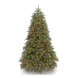 National Tree Company - Feel-Real' Jersey Frasier Fir Medium Hinged 7.5-foot Tree with 1000 Multi Lights - This 7.5-foot Jersey Frasier Fir tree features an all-metal hinged construction,allowing you to easily set it up and take it down every year. The 1000 multicolored lights joyfully aid in the holiday spirit for you and your family to enjoy.