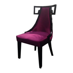 Armen Living - Armen Living Skyline Side Chair in Purple - Need an extra dining chair? This rich velvet dining chair stores easily when the guests leave or use them around a dinette or game table. Thick foam padding and California Fire Retardant rated. Armen Living is the quintessential modern-day furniture designer and manufacturer. with flexibility and speed to market Armen Living exceeds the customer's expectations at every level of interaction. Armen Living not only delivers sensational products of exceptional quality but also offers extraordinarily powerful reliability and capability only limited by the imagination. Our client relationships are fully supported and sustained by a stellar name legendary history and enduring reputation. The groundbreaking new Armen Living line represents a refreshingly innovative creative collaboration with top designers in the home furnishings industry. The result is a uniquely modern collection gorgeously enhanced by sophisticated retro aesthetics. Armen Living celebrates bold individuality vibrant youthfulness sensual refinement and expert craftsmanship at fiscally sensible price points. Each piece conveys pleasure and exudes self expression while resonating with the contemporary chic lifestyle.