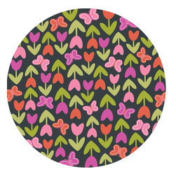 """WallPops - Dilly Dally Dots Wall Decal - These kids decals are happy and cute, with a heart shaped tulip and butterfly print. A super sweet kids decor accent, with an on-trend European inspiration. The dots bring a sweet tulip and heart print to your walls and come with four 13"""" x13"""" pieces. WallPops Decals are repositionable and always removable."""