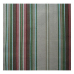 """Close to Custom Linens - 84"""" Shower Curtain, Lined, Carlton Stripe Linen Beige - Carlton is a varied-width stripe with muted shades of linen, brown, rose, blue, green and cream."""