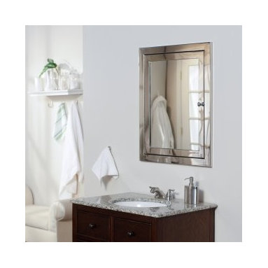 Afina Metro Recessed Medicine Cabinet - The mirror-on-mirror construction gives this recessed cabinet a very sleek look.