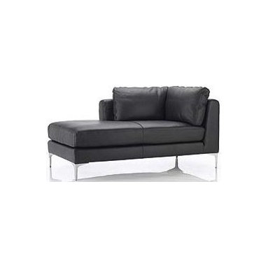 """Design Within Reach - Albert Left Chaise - A reason we often hear for not choosing a sectional is that it won't fit, to which we say: """"Have you seen the Albert Collection?"""" With a compact scale for space-conscious homes, each Albert component stands on a surprisingly small footprint and can be configured to fit your space. Use the Albert Right-Facing Chaise (2008) alone or match it up to the Albert Left-Arm Sofa to create a sectional (a locking mechanism firmly holds the pieces together). For a larger sectional, other Albert components can be added. The Albert Collection's comfortable back cushions and armrests pamper, while firm foam seat cushions provide just the right amount of support. To maintain a clean look, the back cushions are attached to the frame with zippers, and the leather upholstery is applied to the structure using a fixed slipcover technique. This technique gives the Albert Collection its straight seams and crisp appearance from all angles. The full top-grain, semi-aniline leather upholstery is easy to maintain and will withstand heavy use, even in homes with children and pets. The reinforced frames are built for durability, and come with a lifetime warranty. Still wondering if it will fit? Visit a DWR Studio for help from one of our design experts. To order swatches, call 1.800.944.2233 or visit your local DWR Studio. Made in the U.S.A. Due to the size and weight of this item, we recommend our White Glove delivery service. Please review our shipping options. During checkout you will select the option that best fits your needs.  DWR Exclusive."""