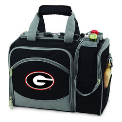 Picnic Time - University of Georgia Malibu Picnic Pack in Black - Insulated pack with picnic service for 2 made of 600D polyester canvas. The elegant and unique Malibu shoulder pack is perfect for picnics, concerts, or travel. This tote has an integrated wine storage section and a spacious food storage section with removable liner. The adjustable shoulder strap makes it easy to carry. A wonderful gift idea.; College Name: University of Georgia; Mascot: Bulldogs; Decoration: Embroidered; Includes: 2 Wine glasses (acrylic), 2 Napkins (cotton 14 x 14 in.), 1 Corkscrew (waiter style stainless steel), 1 Cutting board (wood 6 x 6 in.), 1 Cheese knife (stainless steel w/wood handle), 2 Plates (melamine 9 in.), 2 Ea. Knives forks & spoons (stainless steel), 2 Napkins (cotton 14 x 14 in.)