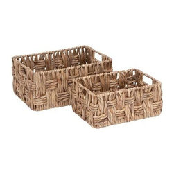 "Benzara - Basket with Wicker Basket Pattern - Set of 2 - Basket with Wicker Basket Pattern - Set of 2. Attractive and durable, metal Wicker Basket with Wicker Basket Pattern (Set of 2) is a worthy possession. It comes with following dimensions 16""W x 10""D x 8""H. 13""W x 9""D x 6""H."