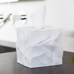 Essey Crinkle Tissue Holder - With crumpled surfaces visually communicating its purpose Crinkle by Essey is the perfect trendy cover for cube tissue boxes.