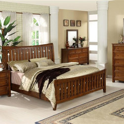 Riverside Furniture - Craftsman Home 5-Piece Bedroom Set in Americana Oak Finish - Choose Size: Full