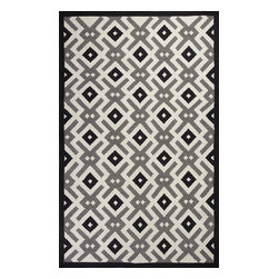 Solstice 4003 Black & White Diamonds Rug - Solstice 4003 Black & White Diamonds. Hand-woven of Polyester Chenille with No Backing. Made in India. Pile Height:1/4""