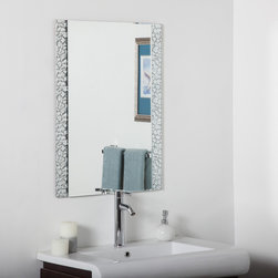 None - Vanity Bathroom Mirror - You'll love reflecting in style with this vanity bathroom mirror crafted from two layers of thick,strong glass and metal. This large frameless wall and bathroom mirror has metal encased in glass border with beveled inside polished outside.