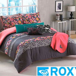 Roxy - Roxy Samantha Floral Comforter Set - Bring Mother Nature indoors with is pretty floral comforter set, which is suitable for use all year long. Featuring a multicolor design on a gray background, the microfiber ensemble includes a comforter, pillow shams, a body pillow, and a throw pillow.