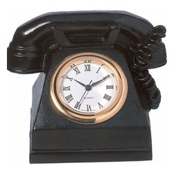 WL - 1.75 Inch Black Old Time Telephone Shaped As Mini Quartz Clock - This gorgeous 1.75 Inch Black Old Time Telephone Shaped As Mini Quartz Clock has the finest details and highest quality you will find anywhere! 1.75 Inch Black Old Time Telephone Shaped As Mini Quartz Clock is truly remarkable.