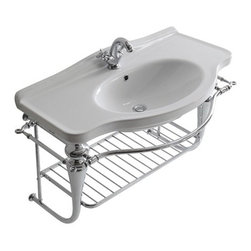 Chromed brass wall-hung under-basin structure 95cms, with underframe countertop -