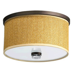 Quorum Lighting - Quorum Lighting Copeland Transitional Flush Mount Ceiling Light X-68-11-956 - The thick weave of the natural grass drum shade compliments the otherwise clean look of this Quorum Lighting semi flush mount ceiling light. This transitional ceiling light incorporates more traditional finishes, which give a unique tropical-meets-classic feel to any room. From the Copeland Collection, it is finished in an Oiled Bronze.