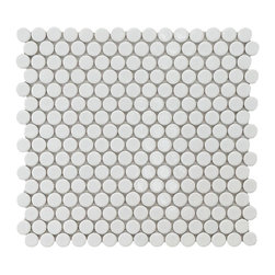 Merola Tile Penny Round White Porcelain Mesh-Mounted Mosaic Tile - I love white penny tile. It serves as the perfect backdrop for woodwork and is a natural approach to decor. Imagine a rustic vanity or bath cabinet resting on this beautiful flooring. It's sure to brighten up any space, and it offers a slightly vintage feel and feels airy and light.