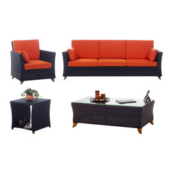 """All Things Cedar - All Things Cedar PR90-SET 4pc. Rattan Deep Seating Set, Orange - Comes with lined and zippered Deep Seat Cushion - available in 6 colors. Cushions made of weather resistant polyester fabric and 5.5 inches of high density foam. Heavy-gauge aluminum tube frame - no rust. Welded aluminum joints are ground and polished. UV inhibitors repel the damaging effects of the sun & harsh weather - maintanence free. Wicker strapping is synthetic resin and hand wrapped for a natural, softer feel. Coffee Table comes with 1/2"""" Bevelled Edge Tempered Glass Top     Color:   deep brown/black webbing w/ solid teak legs  Dimensions:   Sofa - ( 92 x 33 x 34 in.)   Arm Chair -   ( 33 x 33 x 34 in.) Coffee Table - (47 x 24 x 16 in.)   Side Table - ( 20 x 20 x 20 in.) (w x d x h)"""