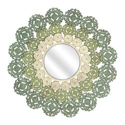 """IMAX - Mcguire Medallion Mirror - You'll love the intricate details of the McGuire Medallion Mirror. A round mirror is surrounded by wrought iron scrollwork with additional floral elements in softly painted shades of blue, green and ivory. Item Dimensions: (38""""h x 38""""w x 3.5"""")"""