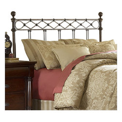 Fashion Bed - Fashion Bed Argyle Metal Poster Headboard in Copper Chrome-Queen - Fashion Bed - Headboards - B12285 - The Argyle Metal Poster Headboard features a diamond pattern wire design cast below the top rail. The grill has five sets of double spindles also cast together. The Copper Chrome finish is a mixture of copper and silver streaked with black antiquing that will allow the headboard to blend with many decors.