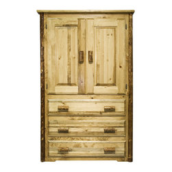 "Montana Woodworks - Montana Woodworks Armoire in Glacier Country - This rustic, handcrafted armoire will bring rustic charm into any room of your home. The armoire can be used for a variety of purposes from wardrobe storage to securely displaying your television monitor or display. Made from solid, American grown wood, the edge glued panels utilized in the armoire and other Montana Woodworks ""Glacier Country"" furniture is nicely finished in a truly unique, one-of-a-kind look reminiscent of the Grand Lodges of the Rockies, circa 1900. First we remove the outer bark while leaving the inner, cambium layer intact for texture and contrast. Then the finish is completed in an eight step process that applies stain and lacquer for a beautiful, long lasting finish. Two raised panel doors conceal a large storage area. The three drawers feature easy glide drawer slides for years of trouble free use. A one-inch removable dowel spans the width of the inside to allow for hanging of clothing. Comes fully assembled. 20-year limited warranty included at no additional charge."