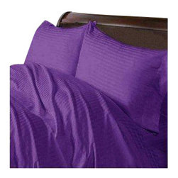 Hothaat - 400TC Stripe Purple Twin XXL Fitted Sheet & 2 Pillowcases - Redefine your everyday elegance with these luxuriously super soft Fitted Sheet. This is 100% Egyptian Cotton Superior quality Fitted Sheet that are truly worthy of a classy and elegant look.