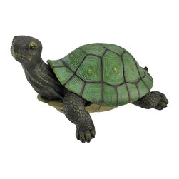 Gorgeous Lifelike Tortoise Garden Statue Turtle Decor - This incredibly lifelike cold cast resin tortoise garden statue is the perfect addition to gardens, patios and lawns. The tortoise measures 10 inches tall, 17 inches long and 12 inches wide. The detail is incredible, from the hand painted eyes to the markings on his shell. This tortoise is brand new, and makes a great gift for any turtle lover.