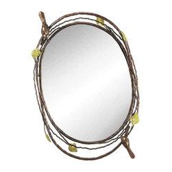 Carmel Decor - Decorative Mirrors - Bird And Twig Oval Mirror Tray