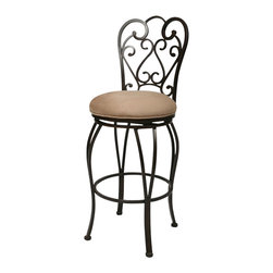 "Pastel Furniture - Pastel Furniture Magnolia Rust 30"" Swivel Bar Stool in Moccasin - Pastel Furniture - Bar Stools - QLMA225239631 - The Pastel Furniture Magnolia Swivel Bar Stool has a distinctive transitional style. An ideal way to update any living or entertaining area in your home it features an intricate metalwork backrest and an elegant linen seat. With a fashionable Old World flair this dining chair will create a good impression for a long time to come."