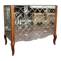 Vintage Diamond Quilted Mirrored Dresser