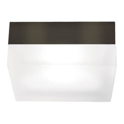 Tech Lighting - 90 Square Ceiling Flush Mount - 90 square ceiling flush mount features a frosted glass shade. Finish available in antique bronze and satin nickel. Available in a round and square shaped option. Also available in a small and large size version. Large version can be wall mounted and is available with incandescent or compact fluorescent lamping option. Small version includes one 40 watt, 120 voolt, JCD Type G9 base halogen lamp. Large version includes two 40 watt, 120 volt, JCD Type G9 base halogen lamps or two 13 watt, 120 volt, T4 2GX7 base twin tube compact flourescent lamps and electronic ballast included. Mounts to a standard 4 inch square junction box with round plaster ring (provided by electrician). General light distribution. EnergyStar rated. ETL listed. Small: 5.3 inch diameter x 2.3 inch height. Large: 9 inch diameter x 3 inch height.