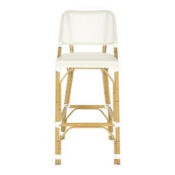Safavieh - Deltana Barstool (Indoor/Outdoor) - Beige - Designed with casual tropical vibe, the beige Deltana indoor-outdoor barstool by Safavieh is styled with classic wrapped detailing on its faux bamboo frame. Crafted of PE wicker and aluminum, this transitional barstool is easy care, weather resistant and equally pretty at a kitchen or patio counter.