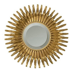 Global Views Small Gold Leaf Sunburst Mirror with Security Hardware - Sunburst mirrors are such a fun trend. They're great alone or in groupings and can punch up the style factor in any space.