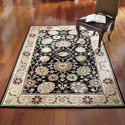 "Frontgate - Peony Blooms Wool Area Rugs - 1'8"" x 2'6"" - 100% pure virgin wool, pile. Hand-hooked to a sturdy cotton backing. Wool rugs are extremely durable. Safavieh rugs are easy to care for. Persian rugs are equally at home in formal or casual settings. From Safavieh, our Peony Blooms Wool Area Rugs feature florals that bloom brighter than usual against a black background to ensure that this hooked rug will be a glorious focal point in any sunlit room. A wide border adds understated elegance to its pure virgin wool beauty.. . . . . Depending on the size, slight variations in the border design may occur in these unique and individually crafted area rugs. Learn more about the origins of Persian rugs."