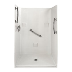 """Ella's Bubbles - Ella Freedom Barrier Free, Roll In Shower 48""""W x 37""""D x 78""""H, Center Drain - The Ella Freedom, (4-Piece) 48 in. x 36 in. Roll in Shower is manufactured using premium marine grade gel coat fiberglass which creates a smooth, beautiful, long lasting surface with anti-slip textured shower base floor. Ella Freedom Barrier Free Shower walls are reinforced with wood and steel providing flexibility for seat and grab bar installation at needed height for any size bather. The integral self-locking aluminum Pin and Slot System allows the shower walls and the pre-leveled shower base to be conveniently installed from the front. Premium quality material, no need for drywall or extra studs for fixture support, 30 Year Limited Lifetime Warranty (on shower panels) and ease of installation make Ella Barrier Free Showers the best option in the industry for your bathtub replacement or modification needs."""