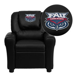 "Flash Furniture - Florida Atlantic University Owls Embroidered Black Vinyl Kids Recliner - Get young kids in the college spirit with this embroidered college recliner. Kids will now be able to enjoy the comfort that adults experience with a comfortable recliner that was made just for them! This chair features a strong wood frame with soft foam and then enveloped in durable vinyl upholstery for your active child. This petite sized recliner is highlighted with a cup holder in the arm to rest their drink during their favorite show or while reading a book.; Florida Atlantic University Embroidered Kids Recliner; Embroidered Applique on Oversized Headrest; Overstuffed Padding for Comfort; Durable Black Vinyl Upholstery; Easy to Clean Upholstery with Damp Cloth; Cup Holder in armrest; Solid Hardwood Frame; Raised Black Plastic Feet; Intended use for Children Ages 3-9; 90 lb. Weight Limit; Meets or Exceeds CA117 Fire Resistance Standards; Safety Feature: Will not recline unless child is in seated position and pulls ottoman 1"" out and then reclines; Assembly Required: Yes; Country of Origin: China; Warranty: 2 Years; Dimensions: 27""H x 24""W x 21.5 - 36.5""D"