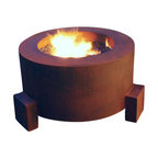 """Home Infatuation - Mini-Round Weathering Steel Fire Pit, Mini Round Pit for Logs/Propane Gas - This handcrafted outdoor fire pit is constructed entirely of 11 gauge Cor-Ten steel. Commonly called """"weathering steel"""" it will develop a beautifully brown layer of rust when exposed to the weather."""
