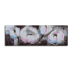 Pom pom blooms Hand Painted Canvas Art - Add a bit of floral whimsy to your living room or bedroom with this charming original painting. The beautiful blooms would be equally at home above a bed or fireplace. It's slightly abstract with just a hint of realism to keep it elegantly grounded for your modern home.