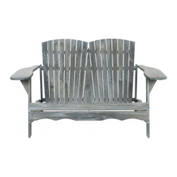 Safavieh - Hantom Bench - Ash Grey - Nothing is more romantic than an Adirondack loveseat for watching sunsets, sipping cocktails or just enjoying conversation. Adapted from the original 1903 piece designed by Thomas Lee while he was vacationing in the Adirondack Mountains, the Hantom Bench has wide arms and comfy slant back that beckons. Crafted of sustainable acacia wood in ash grey finish with silver galvanized hardware, Hantom is destined to become a backyard favorite.