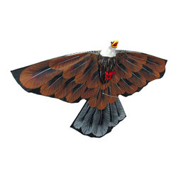 Bald Eagle Decorative Wall Hanging Kite - This cool kite doubles as a decorative wall hanging, and features a bald eagle in flight. Crafted from nylon and bamboo, its wingspan measures 33 inches wide, and it is 21 inches tall. The body of the bird is three-dimensional, giving some character to this piece. Some assembly is required, and step by step instructions are included to ensure success. It makes a wonderful gift, and adds a unique accent to your home decor. NOTE: Additional line is required if you intend to fly this item as a kite.
