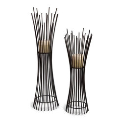 "IMAX CORPORATION - Metal Candleholder Duo - Set of 2 - Set of Two Matching Iron Contemporary Candle holders with Dramatic Vertical Lines From Floor to Base. Comes in various sizes measuring around 35""L x 10.5""W x 16.5""H each. Shop home furnishings, decor, and accessories from Posh Urban Furnishings. Beautiful, stylish furniture and decor that will brighten your home instantly. Shop modern, traditional, vintage, and world designs."