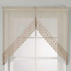 Chf Industries Inc. - Bali 38-Inch Swag - These kitchen tiers have a unique appeal that complements any casual or formal decor. The light-filtering, crushed voile body is accented with intricate macrame along the bottom.