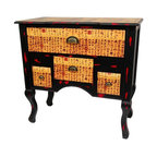 Oriental Furniture - Calligraphy Low Boy Coffer Cabinet - A uniquely attractive, sturdy, and well built cabinet, a reproduction of a traditional Chinese low coffer. Beautifully decorated with parchment colored decoupage Chinese calligraphy, on eye catching black on red distressed lacquer. Provides practical storage space and a distinctive shape, a lovely chest for the foyer, living room, bedroom, or den.