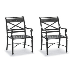 Frontgate - Carlisle Set of Two Dining Outdoor Arm Chairs in Black Finish, Patio Furniture - Fine-furniture design. 100% ingot aluminum, a premium quality material. Hand-filed welds. Rich, multilayered onyx finish with UV protected top coat. Optional cushion with Velcro® ties. Our Carlisle Onyx Dining Arm Chair's impeccable, grandly scaled cast-aluminum frame is crafted to stand the test of time. Fine furniture details such as scrolling arms and crisscrossing back are in a rich, multilayered onyx finish. Optional chair cushion covered in premium 100% solution-dyed fabrics. Part of the Carlisle Onyx Collection.  .  .  .  . Optional cushion with Velcro ties . 100% solution-dyed and woven fabrics . All-weather fiberfill . Cushions also available with 100% waterproof Sunbrella Rain performance fabric.