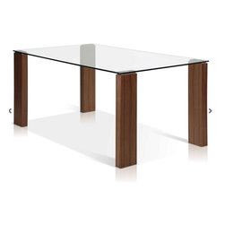 ARTeFAC - Glass Top Dining Table w/Walnut Legs - Glass Top Dining Table w/Walnut Legs