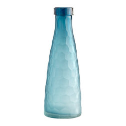Cyan Design - Cyan Design Hummingbird Transitional Decorative Vase - Large X-82160 - This Cyan Design decorative vase from the Hummingbird Collection pairs its large size with beautiful detailing and glass construction. The glass body has been faceted to accentuate its tapered shape while also adding visual texture. The beautiful blue tones throughout give it an elegant finished look.