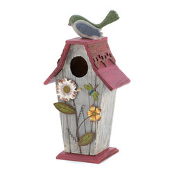 KOOLEKOO - Garden Cottage Birdhouse - Quaint cottage is abloom with colorful cutouts of lovely garden delights, a jaunty red roof and lacy gingerbread trim. A dream home for any feathered family!